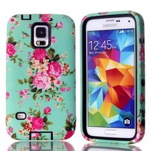 2014 Beautiful floral Pattern PC+Silicon Mobile Phone Case for Samsung Galaxy S5 i9600,Wholesale back cover for Samsung S5
