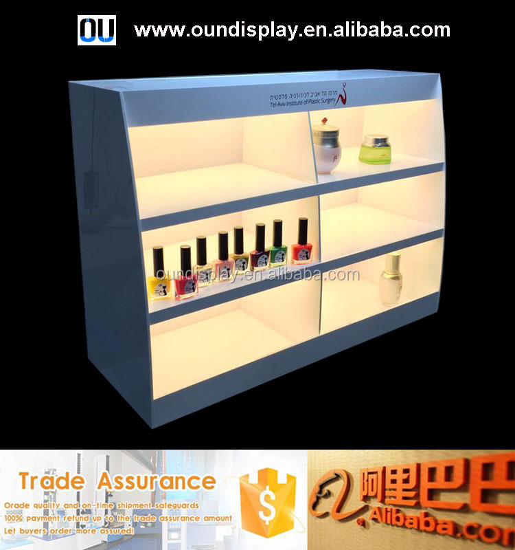 floor stand makeup display stand illuminated led skin care products display stand