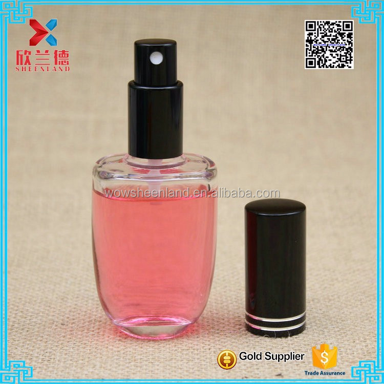 50ml High quality ellipse shaped transparent twist off sprayer glass perfume bottle