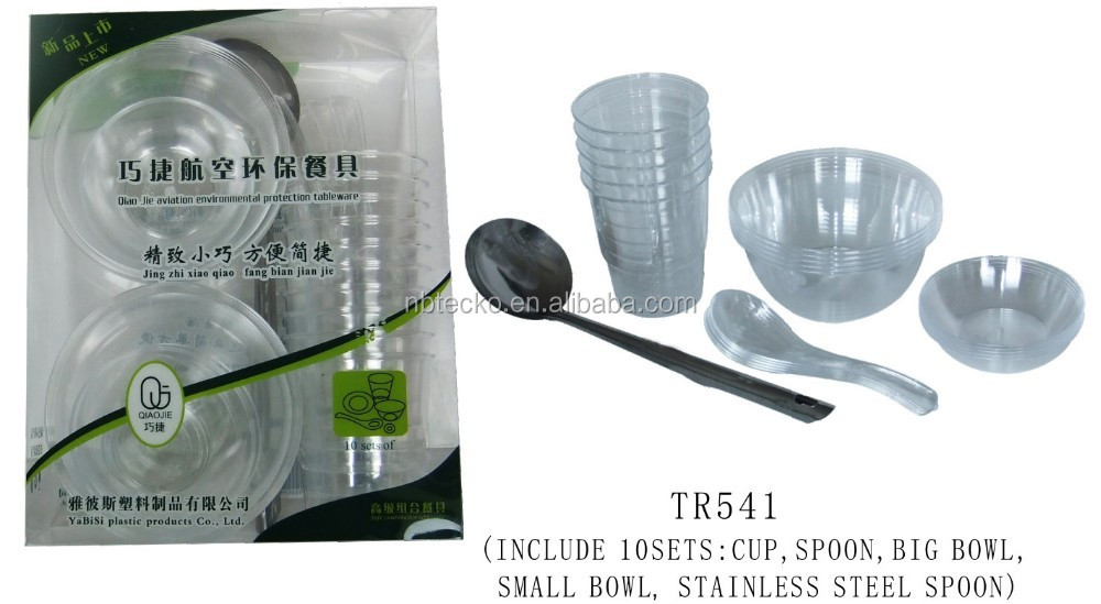 Plastic eco-friendly 10 sets dinnerware set with metal spoon