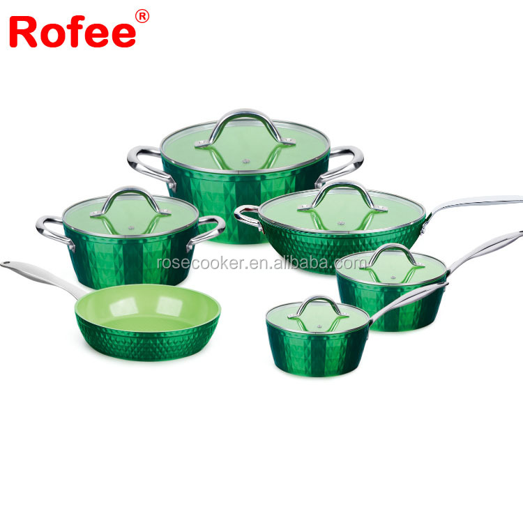 11-Piece Aluminum Non-stick Ceramic Coating Camping Cookware Set with Diamond Body