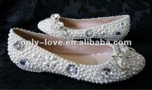 BS423 new style flat pearls crystal bridal wedding shoes