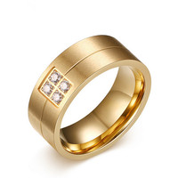 Fashion Accessories Simple Golden Black Male Ring Titanium 316L Stainless Steel Rings For Couples Crystal Jewelry