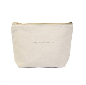 Cheap travel cotton canvas cosmetic zipper bag wholesale