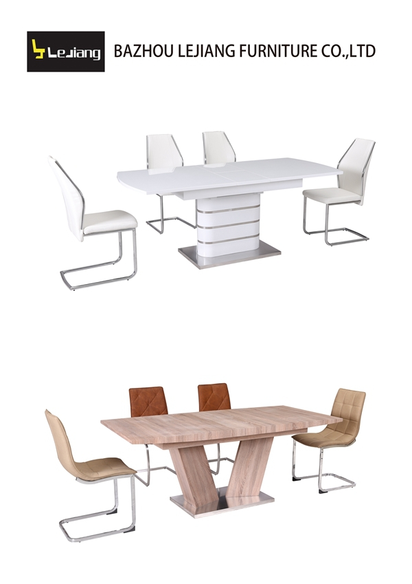 china supplier new dining room products long narrow glass dining table and 6 chairs set DT-1501