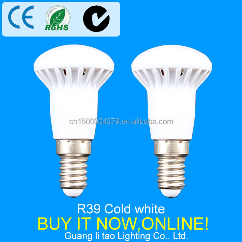 Wholesale R39 LED lamp E14 base 3W light bulb globe 220V-240V diameter 39mm High quality Cold white 12 SMD 2835 Light
