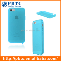 Set Screen Protector And Case For Iphone 5 , Lake Blue Silicone Blank Phone Case