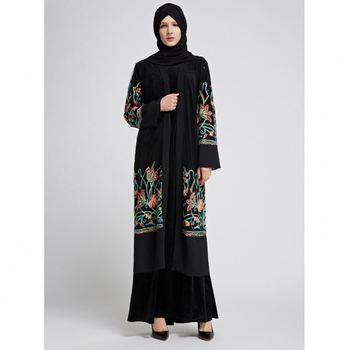 Latest Burka Design Hot Sell Islamic Plus Size Women Clothing Long Sleeve Lace Casual Kaftan Dresses