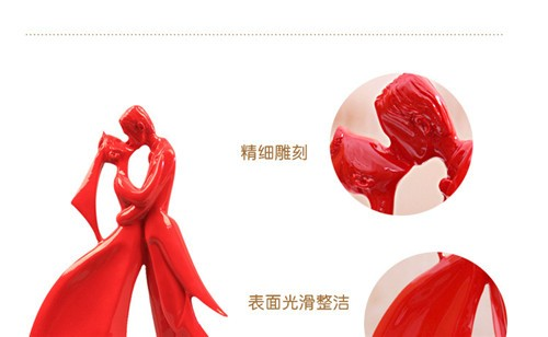 New Arrival Resin Craft Loving Couples Kisses Wedding Red Figurines