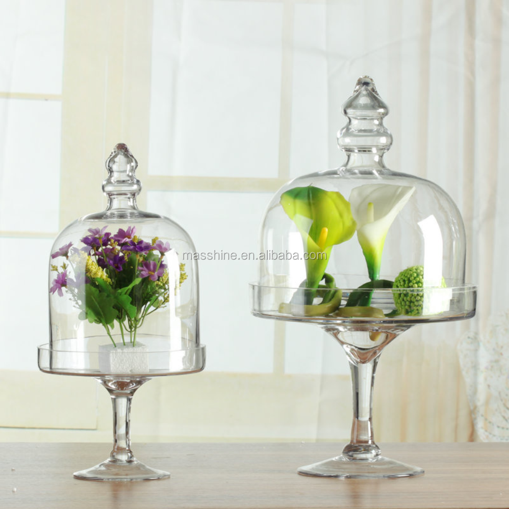 New Design Glass Cake Dome Cover With Stand