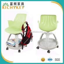 2015 Swivel Student Chair with Plastic Tripod Book Basket Base and Castors
