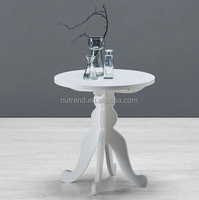 Round wooden coffee end table with anique legs design