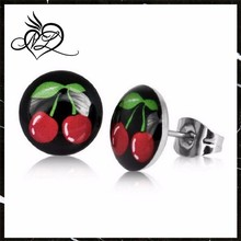 2PCS Stainless Steel Studs Earrings Round Cherry