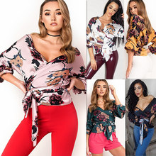 The Latest Ladies Sublimation Floral Printed Chiffon Half Sleeve V-Neck Blouses Elegant Design With Bandage