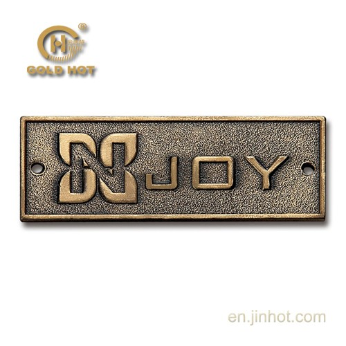 professional manufacturer custom brand name plate copper metal logo for backpack