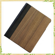 Hot sale wooden genuine leather flip case for ipad air 2 case