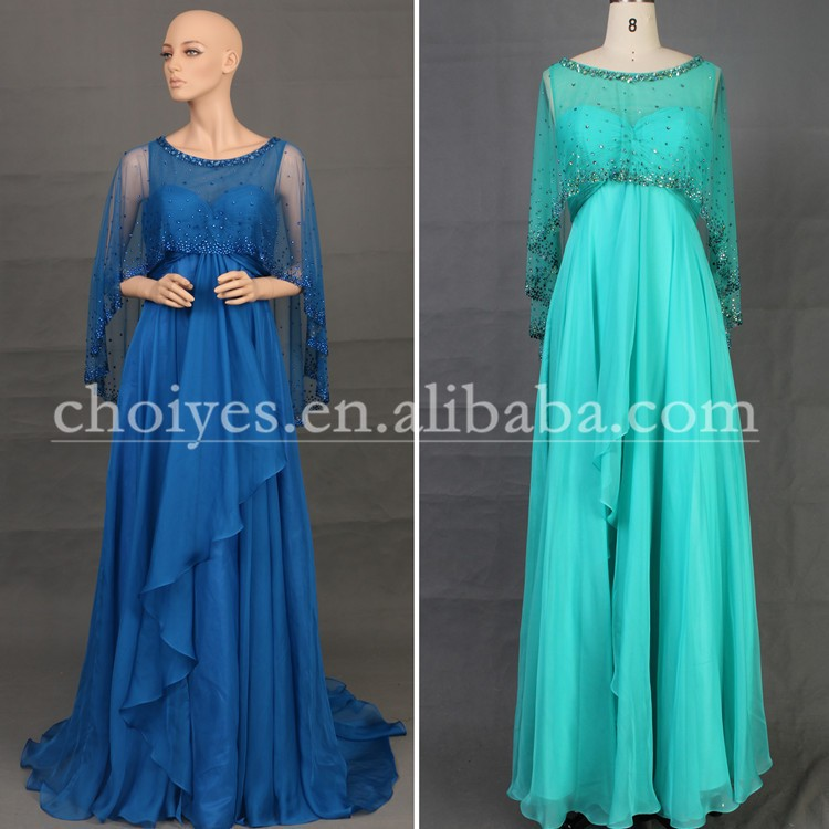 DW50530 Hot Fix Tone Simple Chiffon Tall Royal Blue Mother Of The Bride Dresses With Sleeves