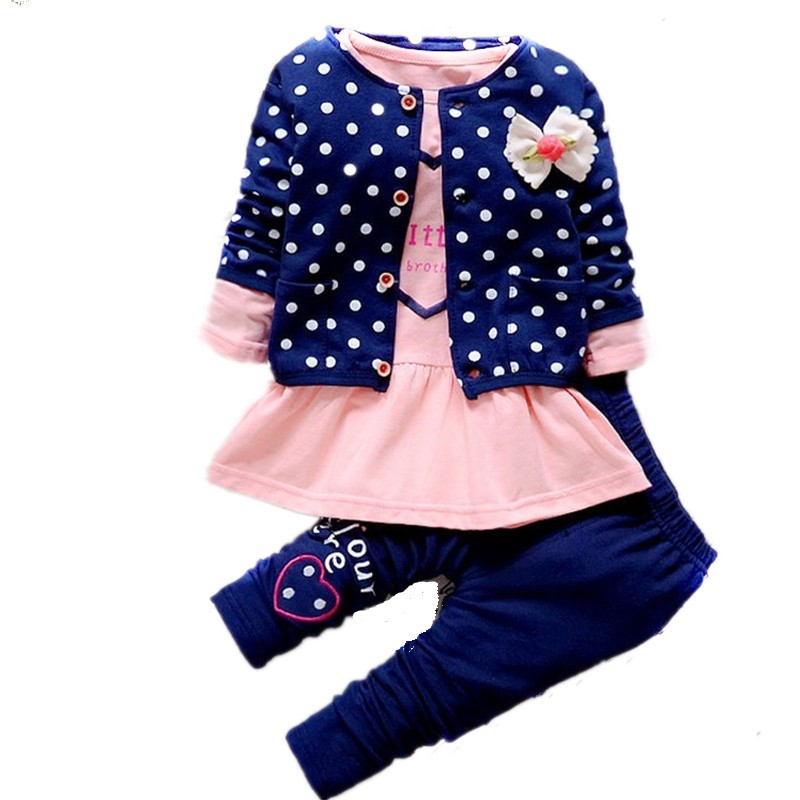 Children clothing 2016 lovely teen girl set baby girls clothing jacket and pants 3 pieces set