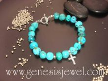 Turquoise with Cz Cross Bracelet