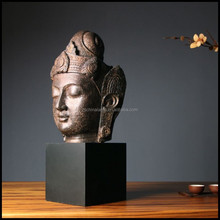 Custom Size Polyester Resin Large Resin Buddha Statue With Black Stand And Brown Color For Modern Home Decor