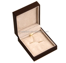 Good leather handmade plastic cufflink box with stamping