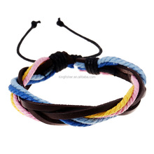 Adjustable size multi color leather and hemp rope bracelet yiwu wholesale bracelet cheap price stock