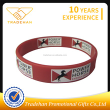 Wholesale customized silicone bracelet screen printed rubber silicone wrist band