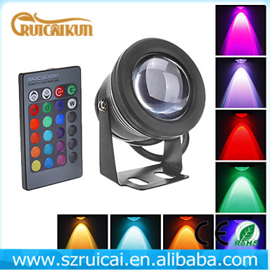 RGB colorful underwater led lights 12v 10w Aquarium Spot Light for Water Garden Pond Fish tank