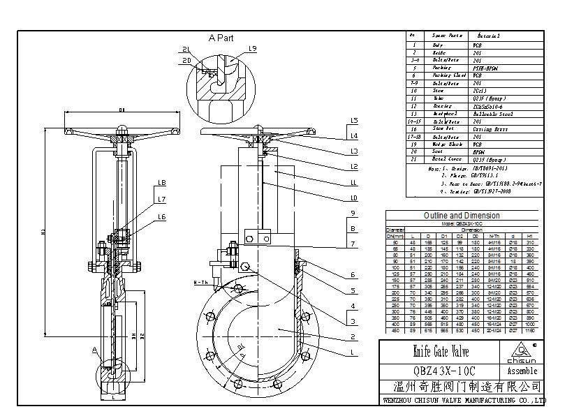 orbinox paper pulp qb flange type epdm seal carbon steel pn10 handwheel operated knife gate