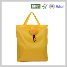 Orange small foldable gift polyester shopping bag and drawstring fruit pouch for easy carry