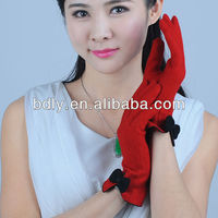 New Design Red Color Unlined Girls Wool Gloves with black Bowtie