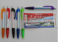 2014 simple design transparency plastic banner ball pen