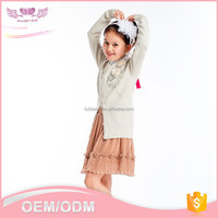 Low MOQ latest fashion girls flower round neck cardigan design winter thick knitted sweater for kid