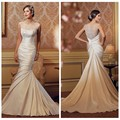 luxury ladies high neck satin lace china factory wedding dress