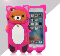 cute cartoon 3D soft cover silicone phone case animal Sleeping bag bear silicone phone case for Iphone 4 5 6