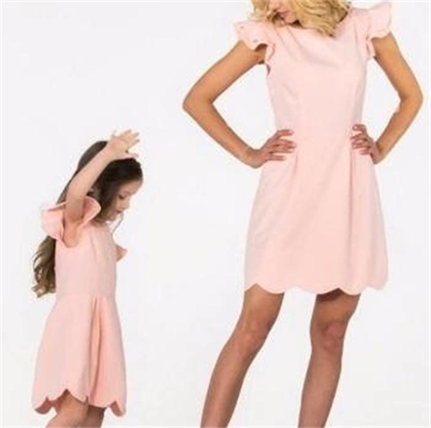 New 2017 fashion mother and daughter dress pink parent -child short sleeve family matching outfits