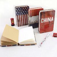 LANGUO Notizbuch Cuadernos quaderni fashion Flag gifts kraft paper metal cover school notebooks