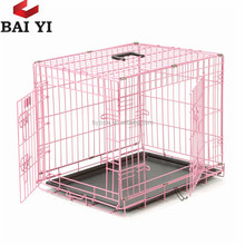 "Double-Door Folding Metal Dog Crate 24''x18"" Cat Pet Cage"