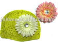 STOCK baby hat toddlers Crochet Kufi Hat with Daisy flower