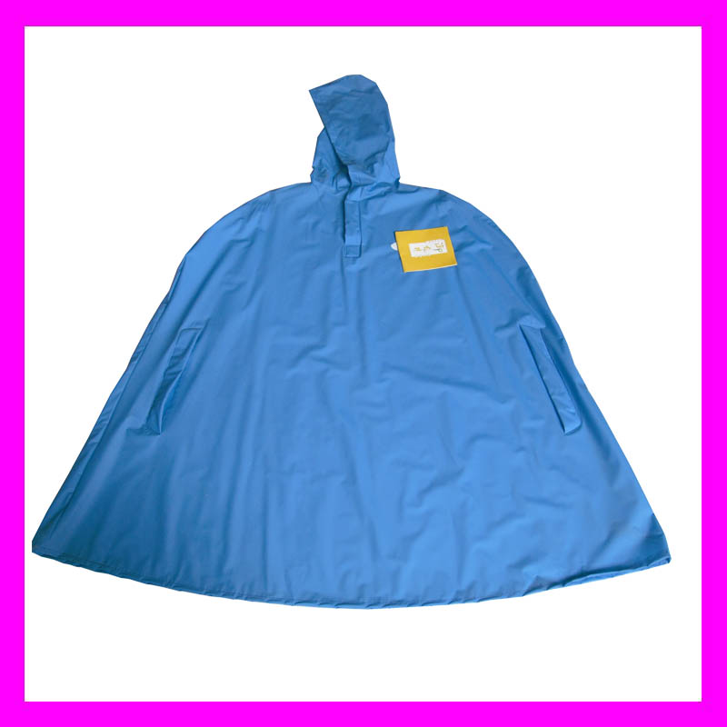 Polyester coated PVC waterproof blue rain ponchos for kids