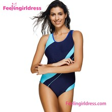 High Quality Blue Fat Women Solid Hot Women One Piece Swimsuit