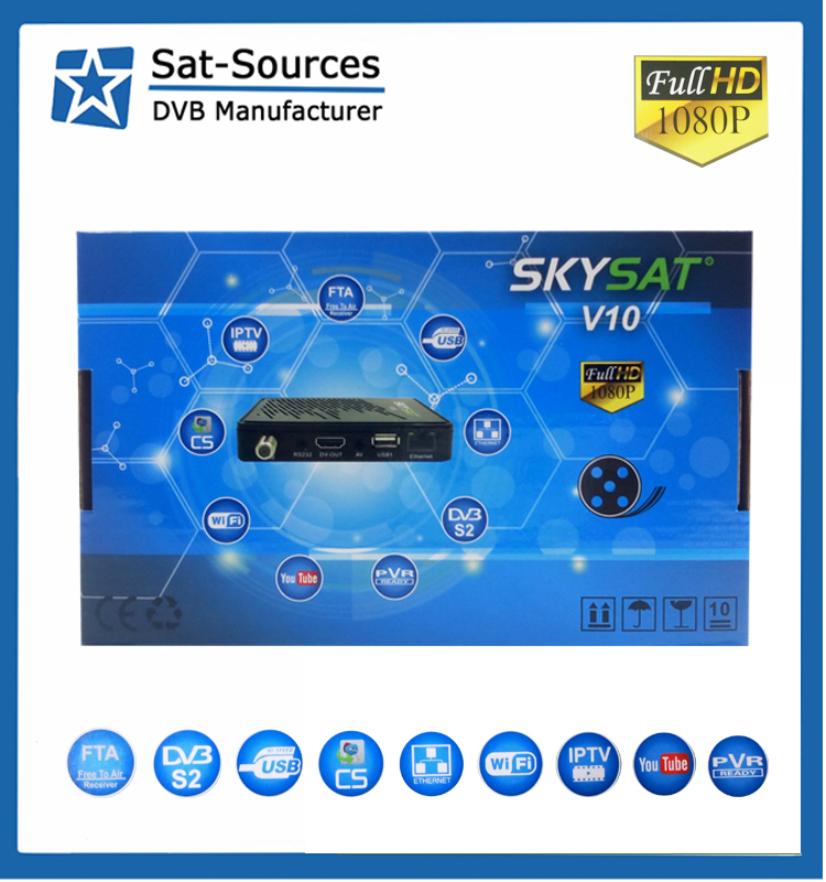 2017 Hot Selling DVB-S2 Receiver with one year IKS support iptv m3u xtream codes powervu biss tandberg SKYSAT V10