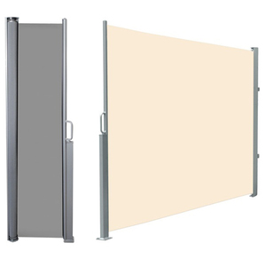 Retractable Folding Screen Privacy Divider with Steel Pole, Side Awning