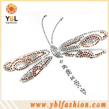 rhinestone applique dragonfly design ss10 crystal for derection