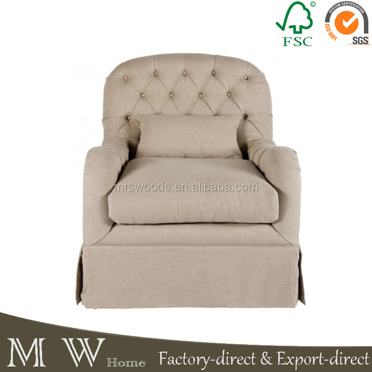 button tufted armchair, french wooden upholstery chair, upholstery armchair