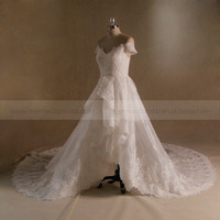 Vintage A-line Cap Sleeve Front Short Back Long Multi- Layers Lace Wedding Dress With Long Train
