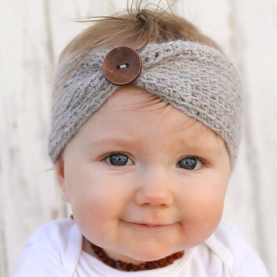 X60491A Infant Hair Weave band Headband Knitting wool Button decoration hairbands
