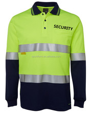 Uniforme reflectante manga larga Cal 2017 guardia de seguridad uniforme Polo camisetas