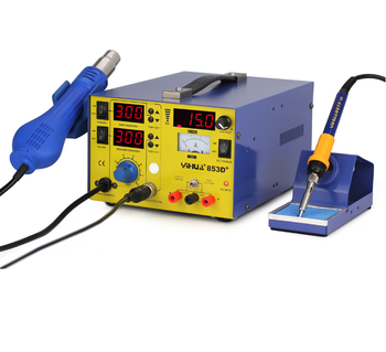 3 function in 1 SMD rework station YIHUA 853D+ 3A 15V, Soldering iron +Hot Air +Power supply .