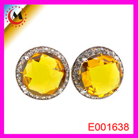 Wholesale Yellow Sapphire Earring Citrine Stone Crystal Stud Earrings Round 2015